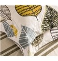 Full Size Concise Leaves Print Cotton 4-Piece Bedding Sets/Duvet Cover