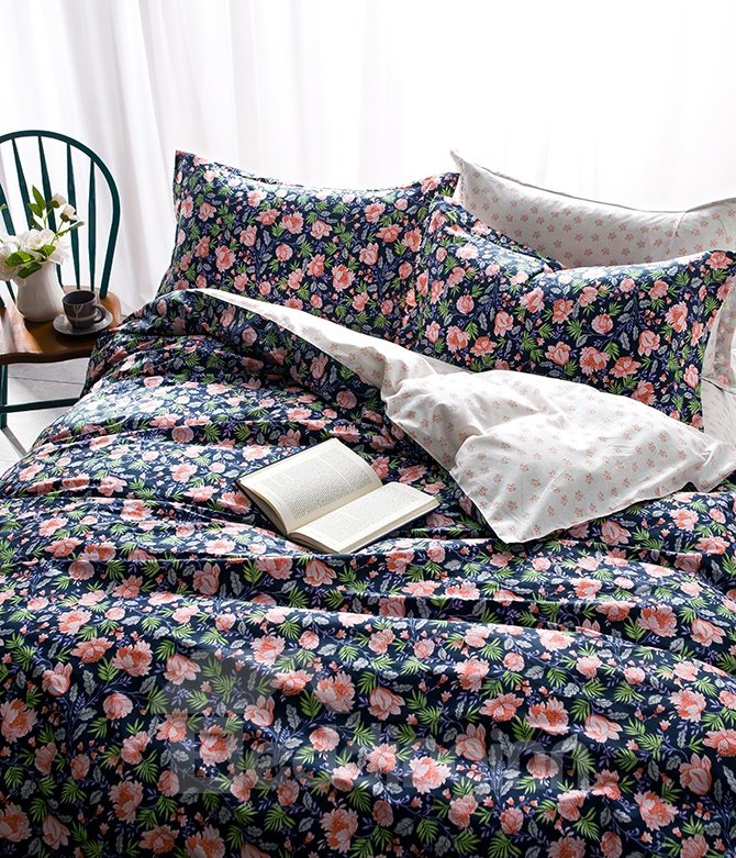 Singular Beauty Flowerlet Print 4-Piece Pure Cotton Duvet Cover Sets