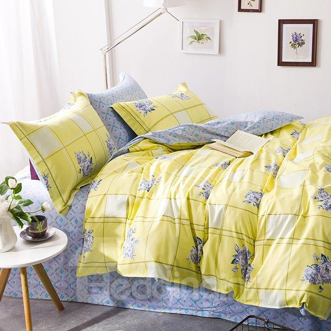 High Class Flowerlet Yellow Cotton 4-Piece Duvet Cover