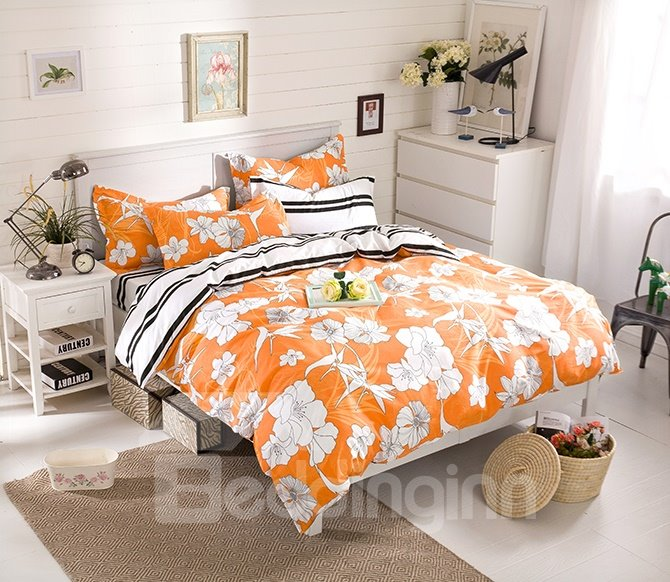 Unique Design White Flowers Yellow Cotton 4-Piece Duvet Cover