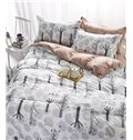 New Arrival Tree Branch Design 100% Cotton 4-Piece Duvet Cover