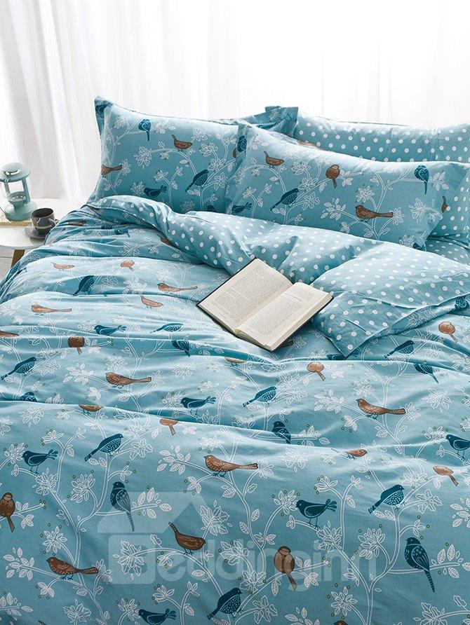 High Class Cartoon Birds Print 4-Piece Pure Cotton Duvet Cover Sets