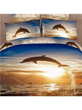 High Quality 100% Cotton Dolphins Reactive Printing Two Pieces Pillow Case