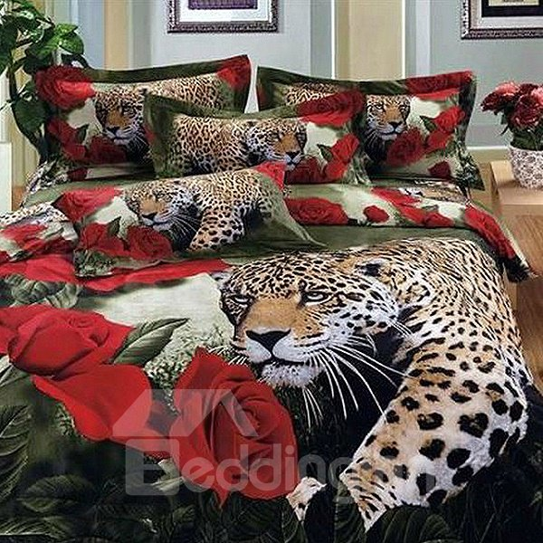 Luxury Leopard and Roses Print 3D Fitted Sheet