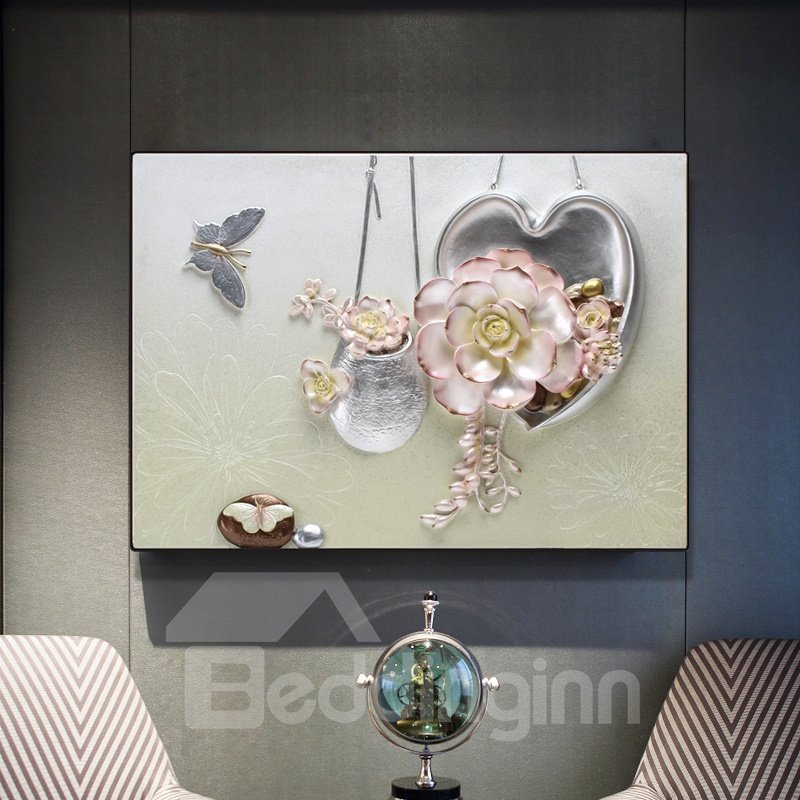 Modern Simple Three-dimensional Flower Framed Wall Print