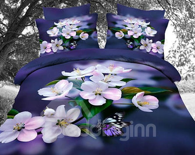 Unique Artistic Peach Blossom 4-Piece Polyester Duvet Cover Sets