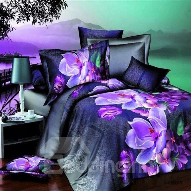 Noble Purple Flower 4-Piece Polyester Duvet Cover Sets