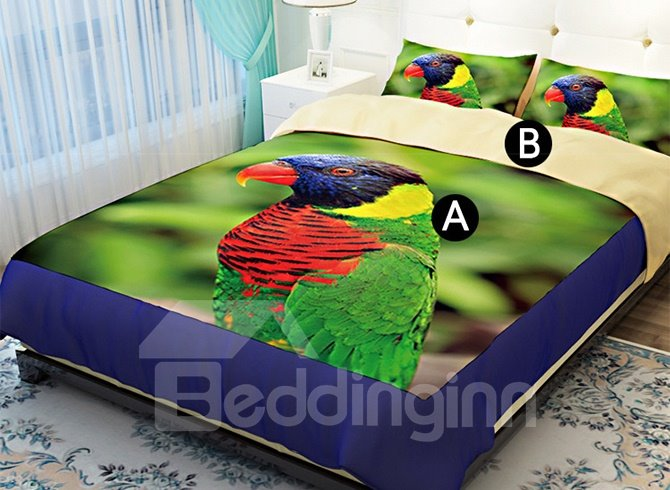 Colorful Parrot 3D Printed 4-Piece Polyester Duvet Cover