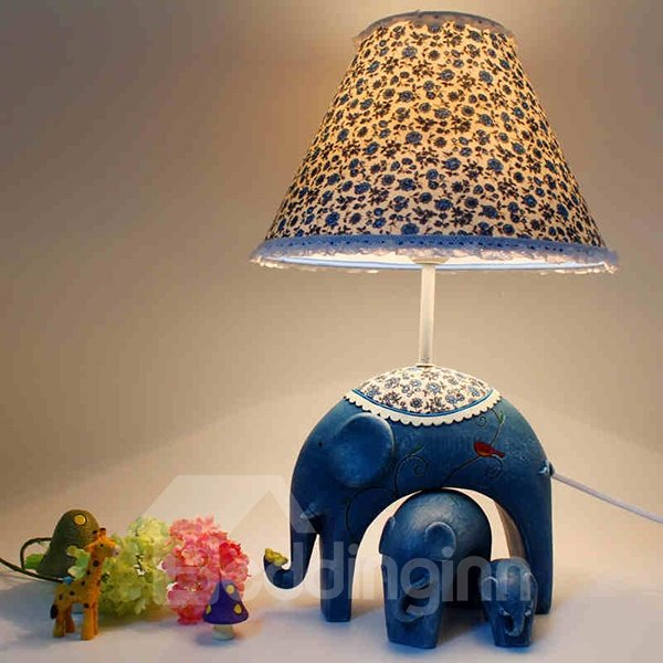 Creative Elephant Pattern Countryside Style Table Lamp