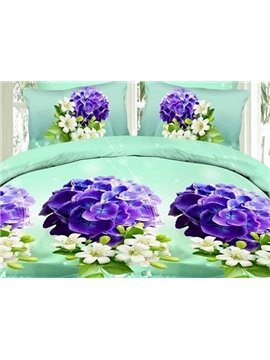 Graceful Purple Flowers 4-Piece Polyester Duvet Cover Sets