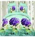 Graceful Purple Flowers 4-Piece Polyester Duvet Cover Sets
