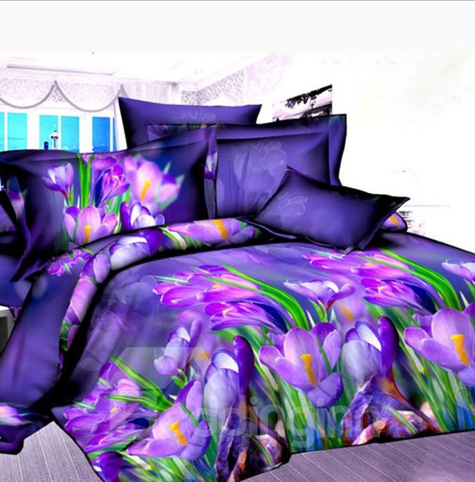Adorable Purple Tulip 4-Piece Polyester Duvet Cover Sets