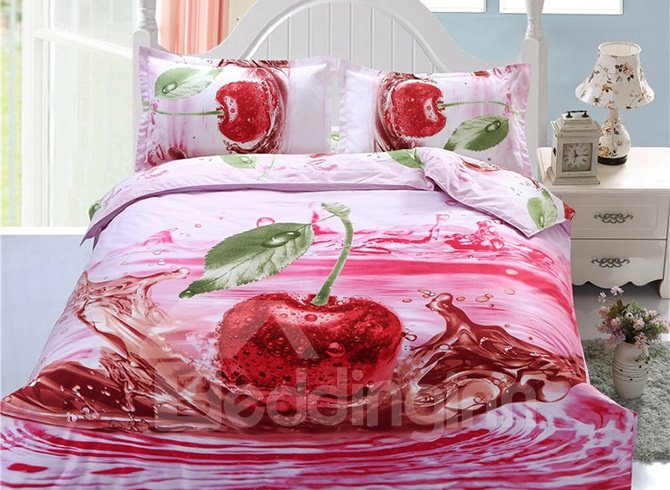 Fabulous Cherry in Water Print 4-Piece Polyester Duvet Cover Sets
