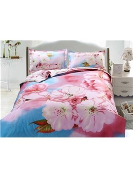 Graceful Blooming Peach Blossom Print 4-Piece Polyester Duvet Cover Sets