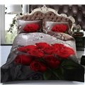 Glamorous Red Roses and Diamond 4-Piece Polyester Duvet Cover Sets