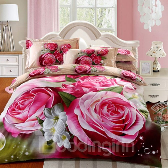 3d Red Peony Printed Cotton Full Size 4 Piece Bedding Sets