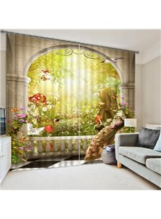 The Peacock and Amzing Scene of the Nature Print 3D Blackout Curtain