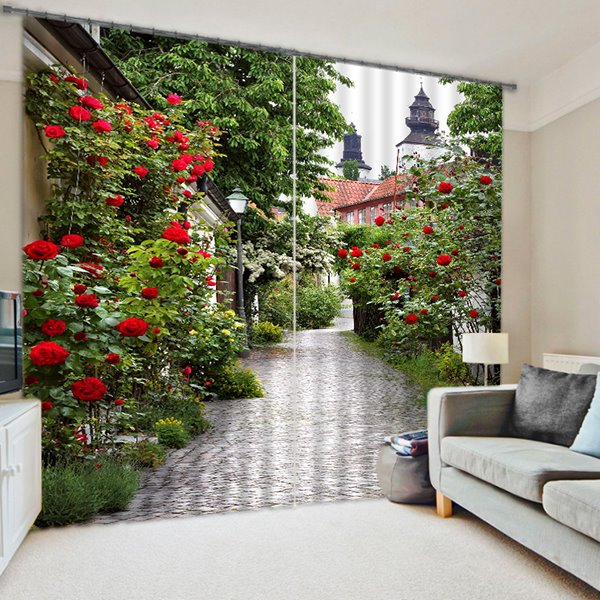 3D Printed Green Lane with Red Roses Natural Style Decoration Custom Polyester Curtain