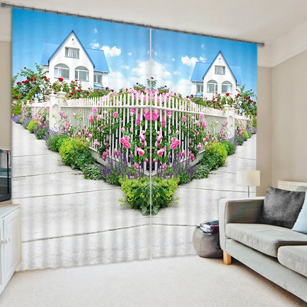 Staggered Path full of Flowers Print 3D Blackout Curtain