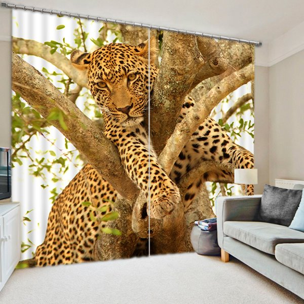 3D Leopard Climbing the Tree Printed Polyester Decoration and Blackout Curtain