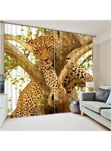 Leopard Climbing the Tree Print 3D Blackout Curtain