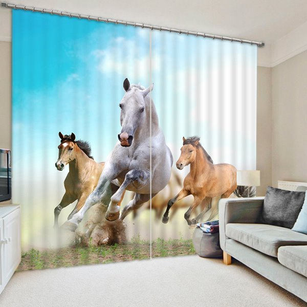 Three Running Pretty Horses Print 3D Blackout Curtain