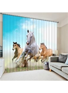 Three Running Pretty Horses Print 3D Blackout Curtain
