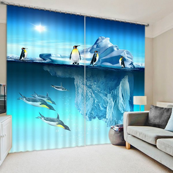 3D Iceberg and Penguins Printed Wonderful Scenery Decorative and Blackout Curtain