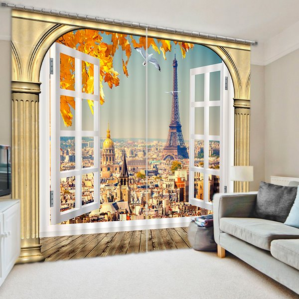 Creative and Grand Eiffel Tower Scenery Printed 3D Blackout and Decorative Curtain
