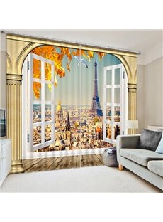 Creative Eiffel Tower Outside the Window Print 3D Blackout Curtain