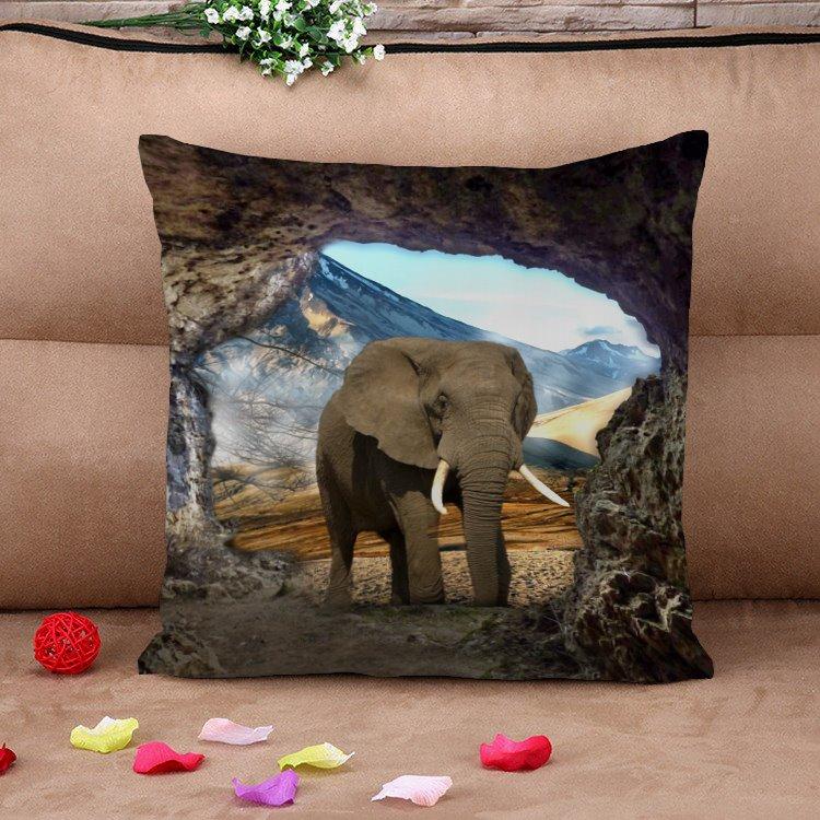 Lifelike Elephant Natural Scenery Cotton Throw Pillow Case