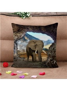 Lifelike Elephant Natural Scenery Cotton Throw Pillow Case