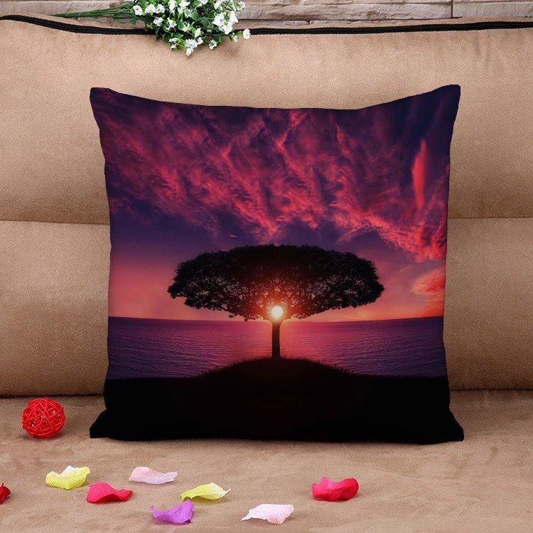 Evening Glow Splendid Tree Natural Cotton Throw Pillow Case