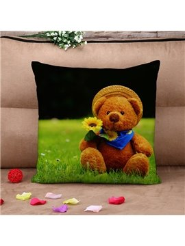 Fresh Cute Teddy Bear on The Grass Cotton Throw Pillow Case