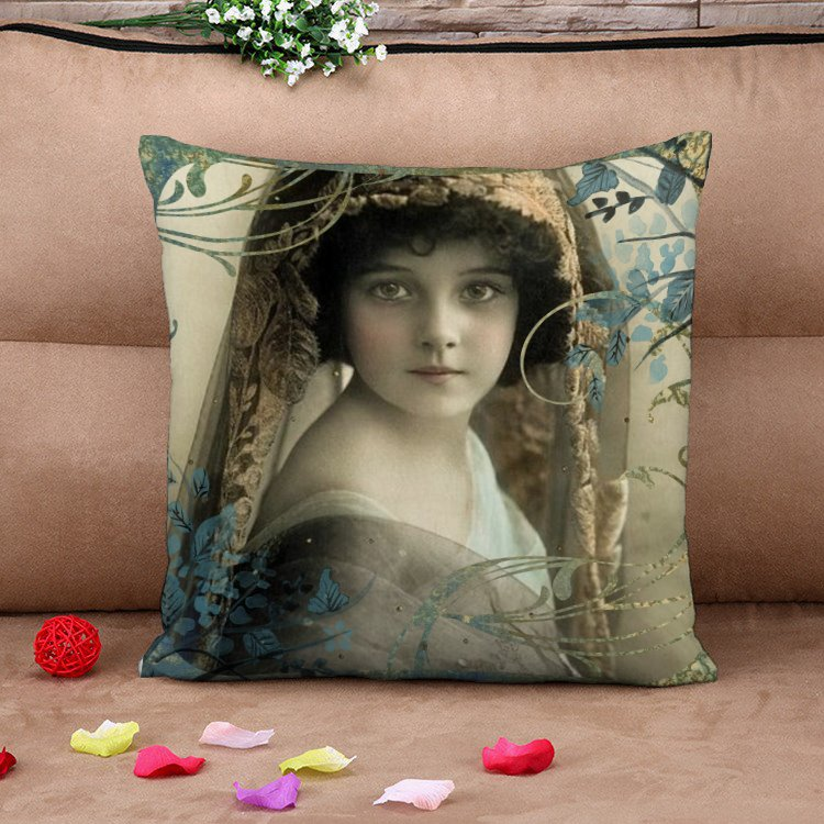 Russian Beautiful Girl Retro Cotton Throw Pillow Case