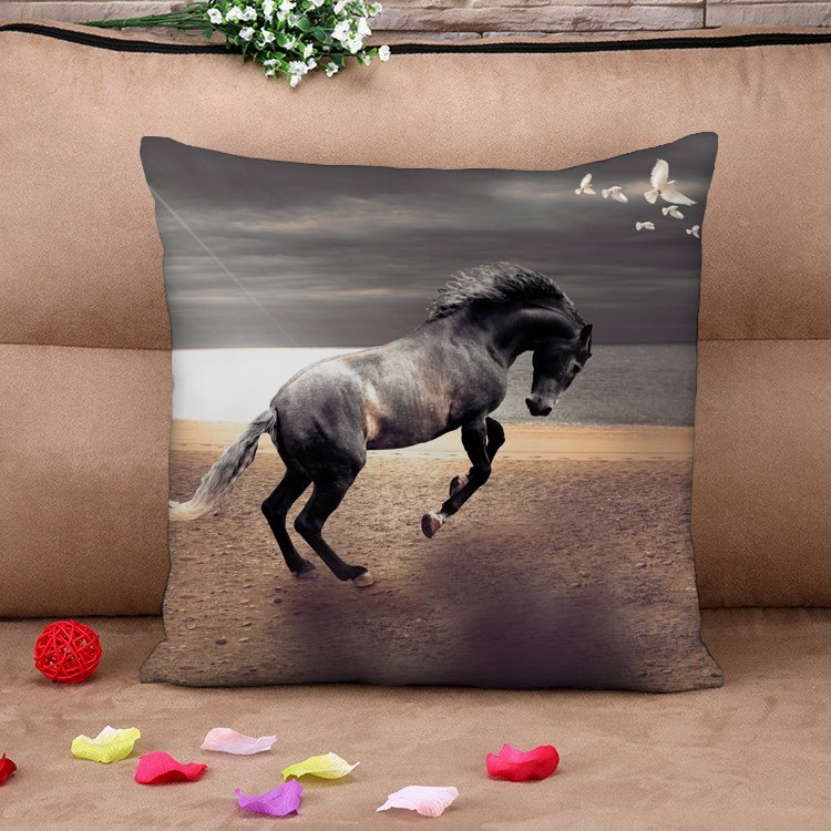 Lifelike Black Horse at The River Cotton Throw Pillow Case