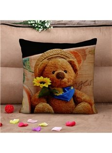 Lovely Teddy Bear in Straw Hat Vintage Cotton Throw Pillow Case