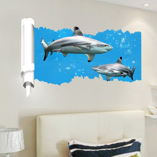 Blue Decorative Simple Style Two Sharks Pattern 3D Wall Stickers