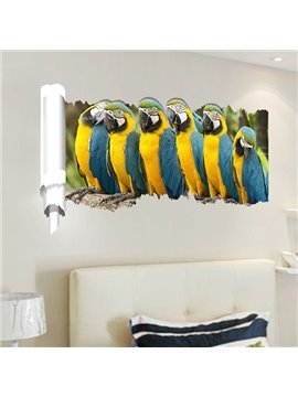 New Arrival Parrot Pattern 3D Wall Stickers