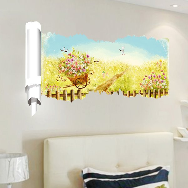 Simple Countryside Style Flowers and Garden Pattern 3D Wall Stickers