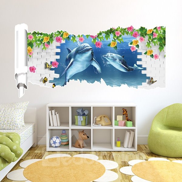 New Arrival Cute Dolphins and Flowers 3D Wall Stickers