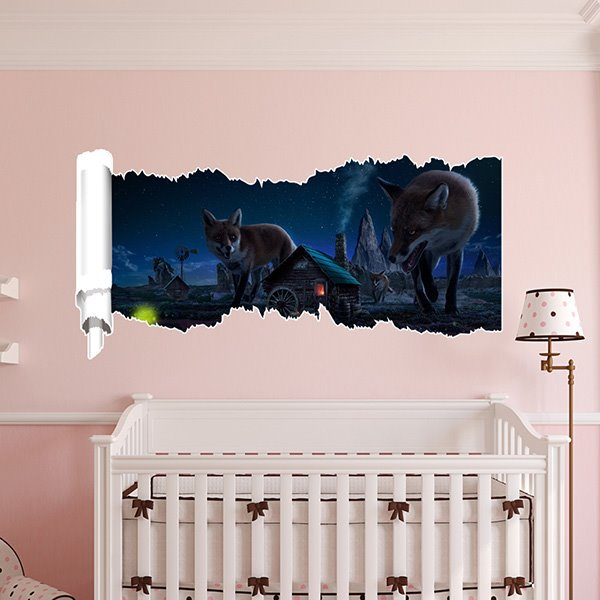 Wolves and Small Houses at Night 3D Waterproof Wall Stickers