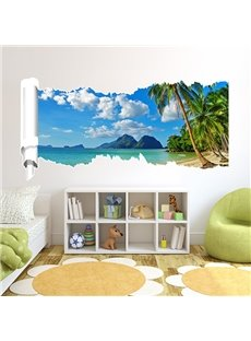Beautiful Rectangle Sea Scenery and Bule Sky Pattern 3D Wall Stickers