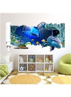 Blue Abysmal Sea Dolphin and Fish Pattern 3D Wall Stickers