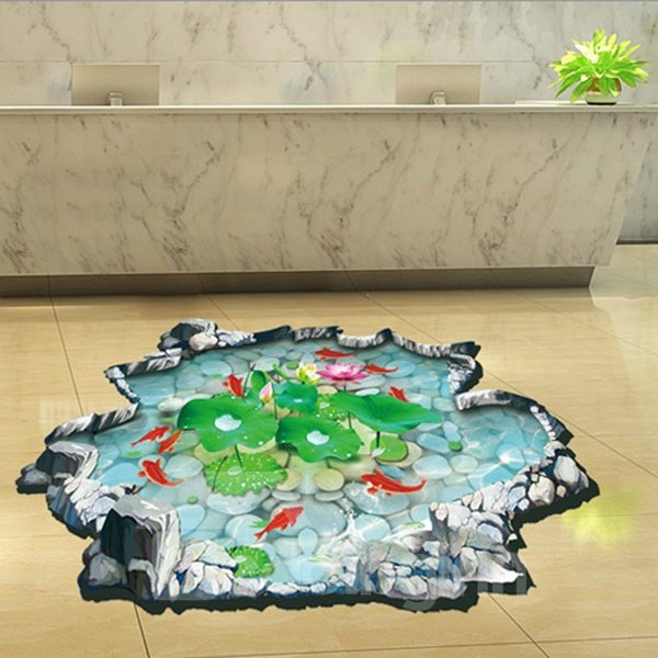 Creative Fish and lotus flower 3D Wall Stickers For BathRoom Decoration