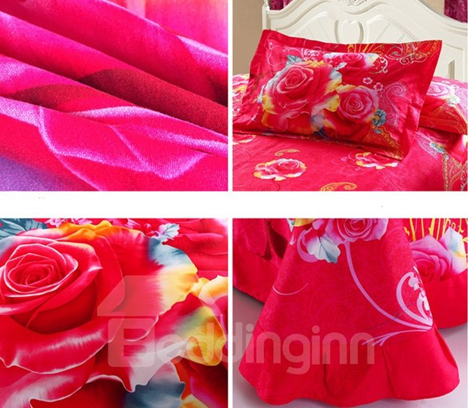 3D Beautiful Rose Reactive Printed Cotton 4-Piece Duvet Cover Sets