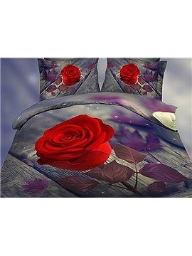 Graceful Noble 3D Rose Print 4-Piece Polyester Duvet Cover Sets