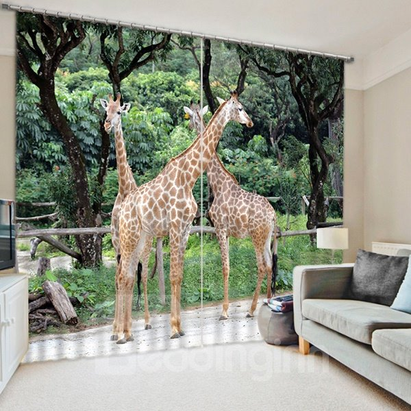 3D Three Giraffes Printed Wonderful and Vivid Scenery Decorative and Blackout Curtain