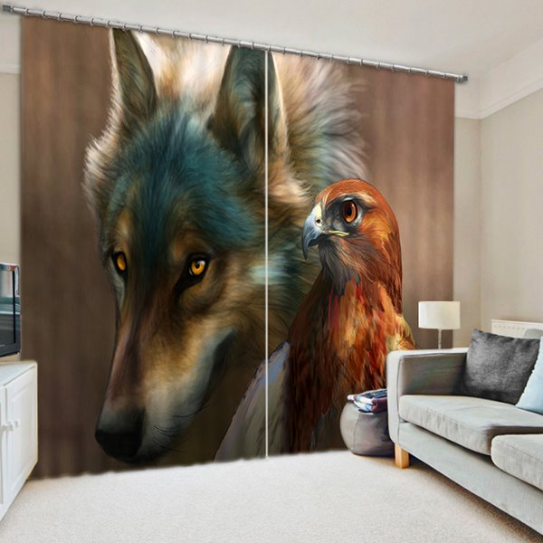 3D Wolf and Eagle Printed Animals Style 2 Panels Blackout and Decorative Curtain