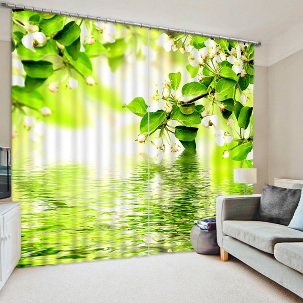 3D White Flowers and Green Leaves Printed Natural Wonder Polyester Custom Curtain